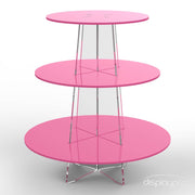 3 tier pink cup cake stand