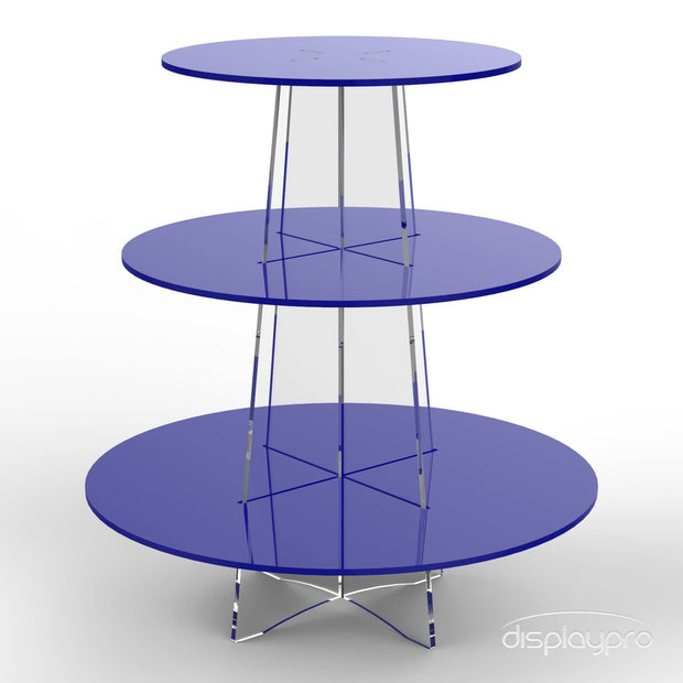 3 tier blue cup cake stand