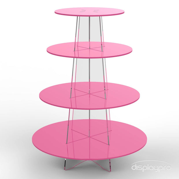 4 tier pink cup cake stand