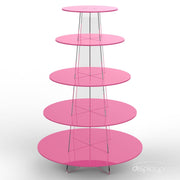 5 tier pink cup cake stand