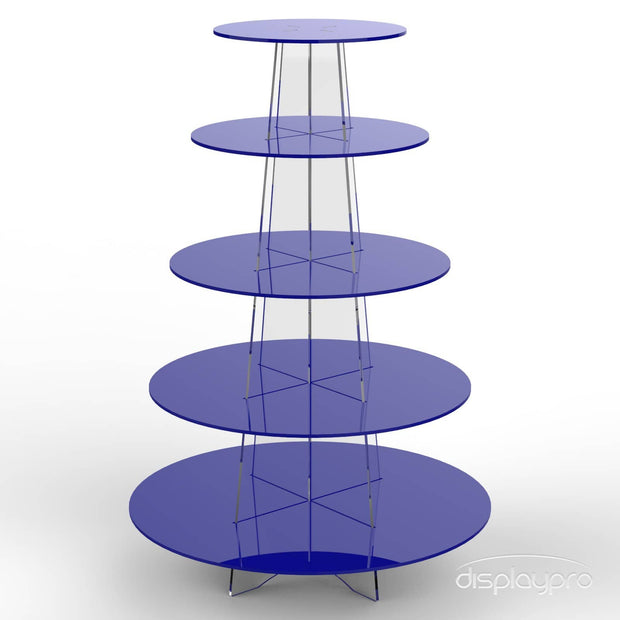 5 tier blue cup cake stand