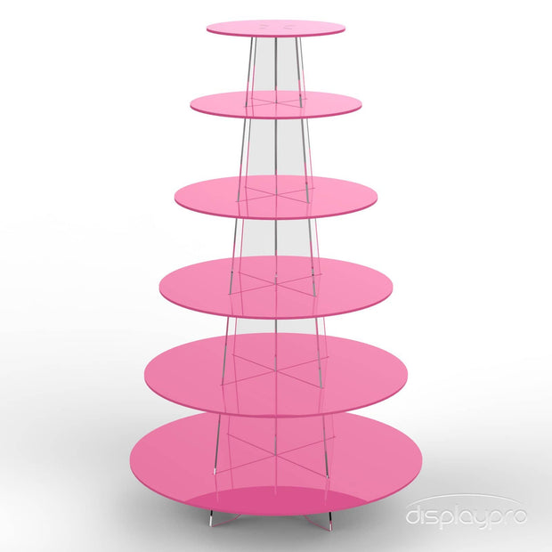 6 tier pink cup cake stand