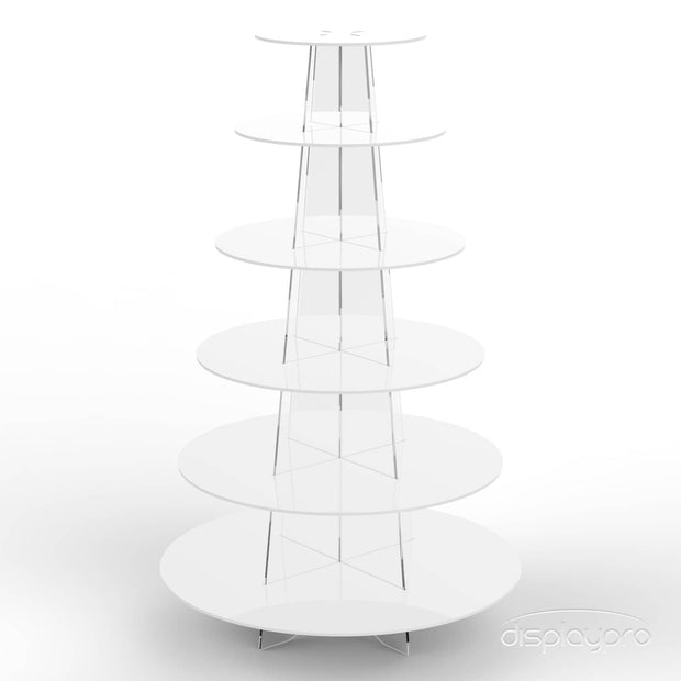 6 tier white cup cake stand