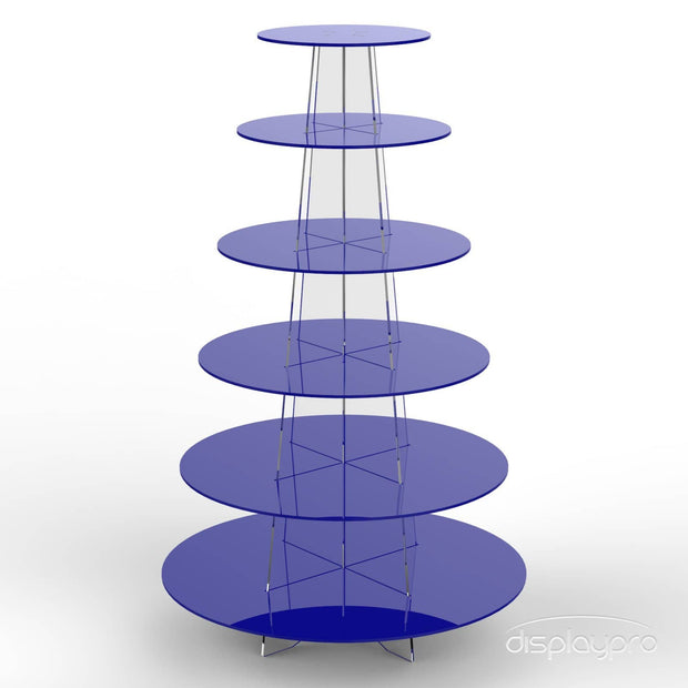 6 tier blue cup cake stand