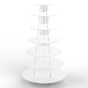 7 tier white cup cake stand