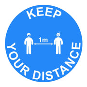 Keep Your Distance 1M Instructional Floor Vinyl Sticker All Blue - Displaypro