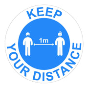 Keep Your Distance 1M Instructional Floor Vinyl Stickers - Displaypro