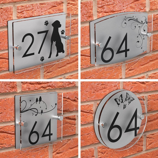 Patterned Acrylic Number House Plaque - Displaypro