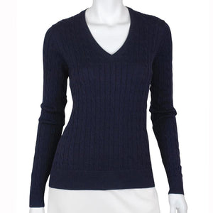 Long Sleeve Perry Cable V-neck Sweater