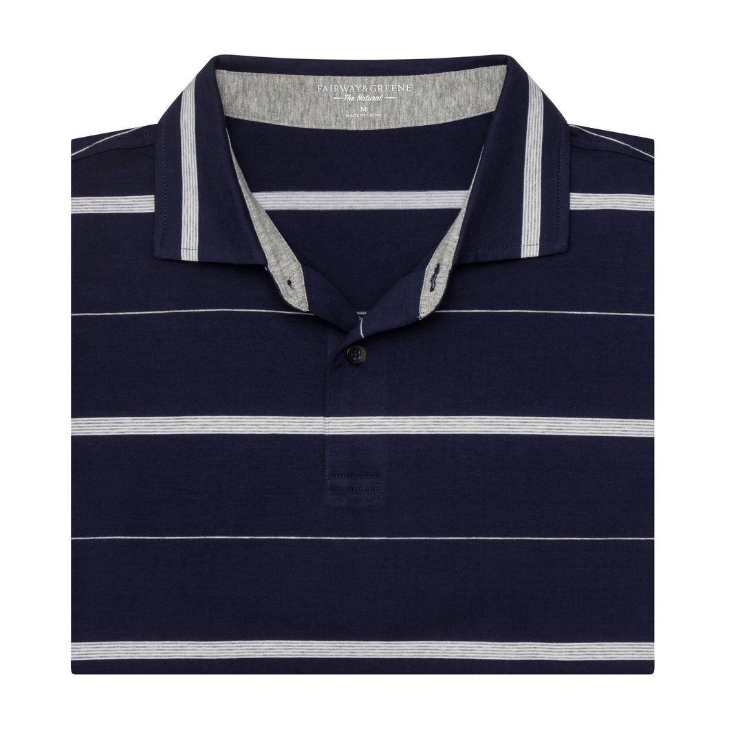 The Lt Stripe Natural Jersey Polo
