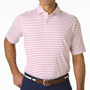 USA The Raleigh Stripe Jersey Polo - Fairway & Greene