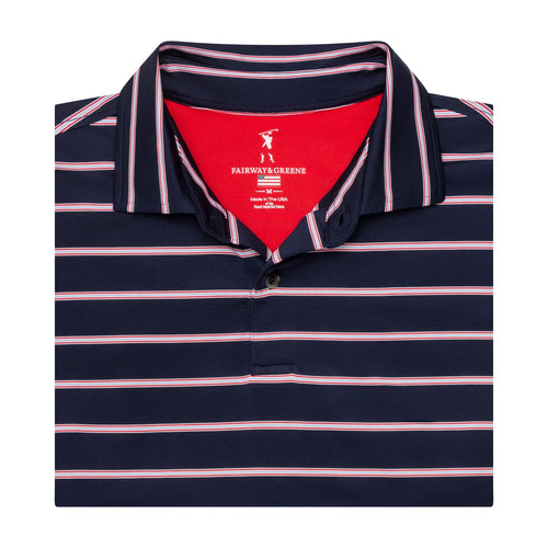 USA The Delano Stripe Jersey Polo - Fairway & Greene