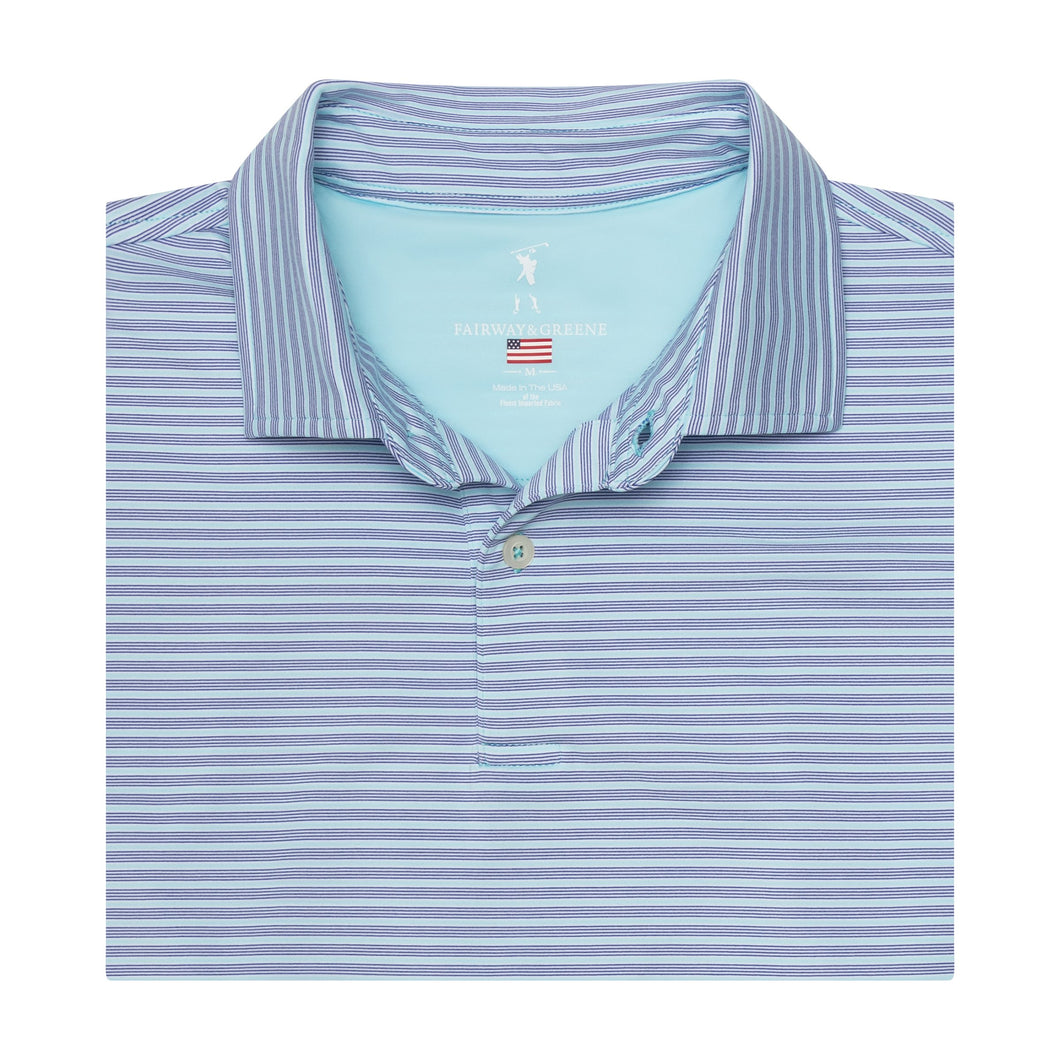 USA The Carlisle Stripe Jersey Polo - Fairway & Greene