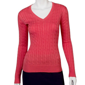 Long Sleeve Perry Cable V-neck Sweater - Fairway & Greene