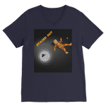 Load image into Gallery viewer, Spaced Out Orange Space Collection Classic V-Neck T-Shirt - Indigo G