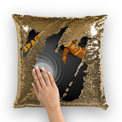Spaced Out Orange Space Collection Sequin Cushion Cover - Indigo G