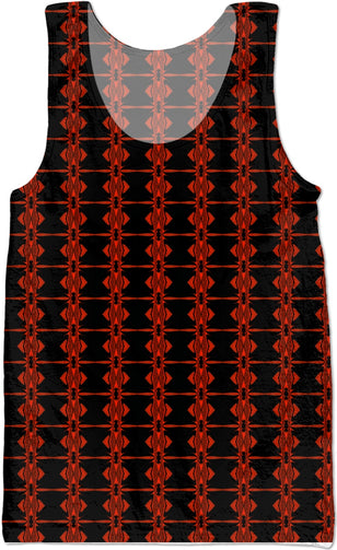 Red Flat Fractal tank top - Indigo G