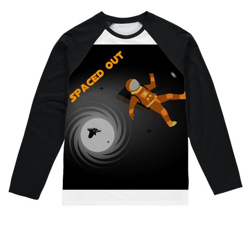 Spaced Out Orange Space Collection Sublimation Baseball Long Sleeve T-Shirt - Indigo G