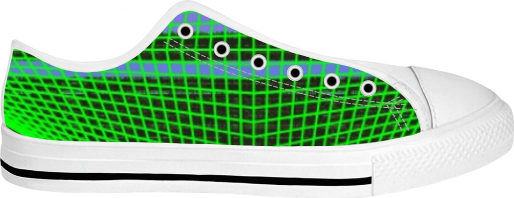 Green Cage White Low Top Sneaks - Indigo G - Indigo G