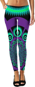 Purple Fractal Custom Leggings - Indigo G