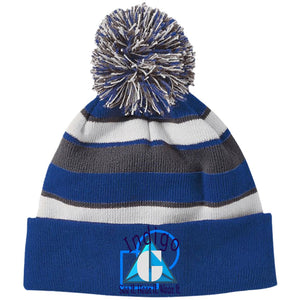 3D-62 -  Holloway Striped Beanie with Pom - Indigo G - Indigo G
