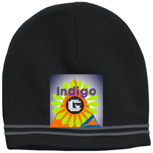 Orange Triangle - Sport Tek Colorblock Beanie - Indigo G