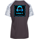 Load image into Gallery viewer, Dual Headphones -+Sport-Tek Ladies' CamoHex Colorblock T-Shirt - Indigo G