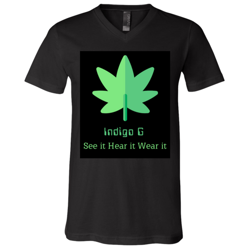 Green Leaf - 3005 Bella + Canvas Unisex Jersey SS V-Neck T-Shirt - Indigo G - Indigo G