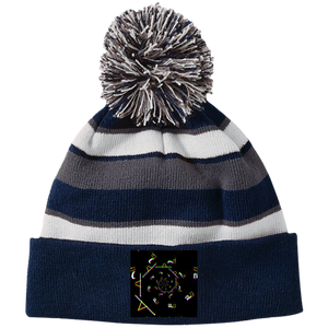 Staccato Spiral 223835 Holloway Striped Beanie with Pom - Indigo G