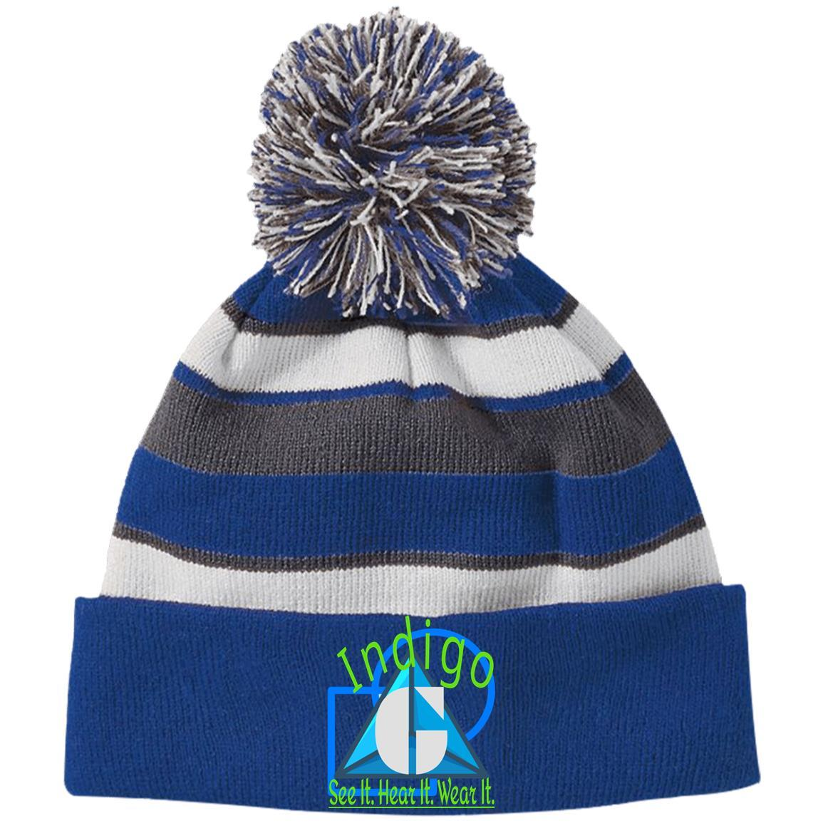 3D-52 -  Holloway Striped Beanie with Pom - Indigo G - Indigo G