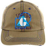 Load image into Gallery viewer, Blue Shapes - Distressed Trucker Cap