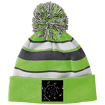 Load image into Gallery viewer, Staccato Spiral 223835 Holloway Striped Beanie with Pom - Indigo G