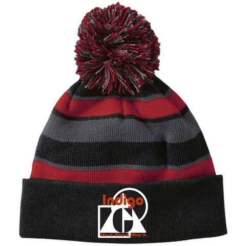 3D-3 - Striped Beanie with Pom - Indigo G - Indigo G