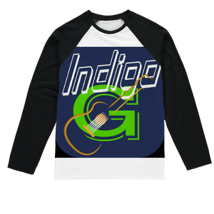 Indigo G Guitar Sublimation Baseball Long Sleeve T-Shirt - Indigo G
