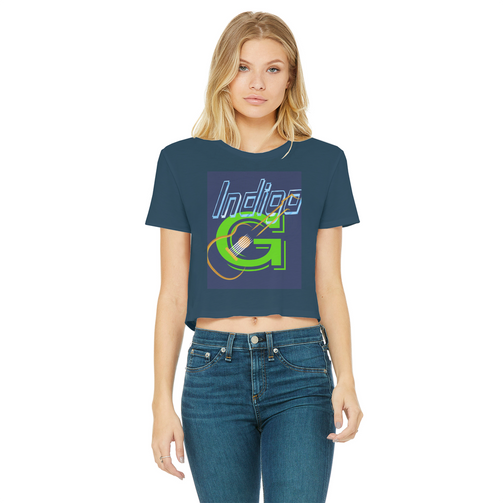 Guitar Raw Edge Women's Cropped T-Shirt - Indigo G
