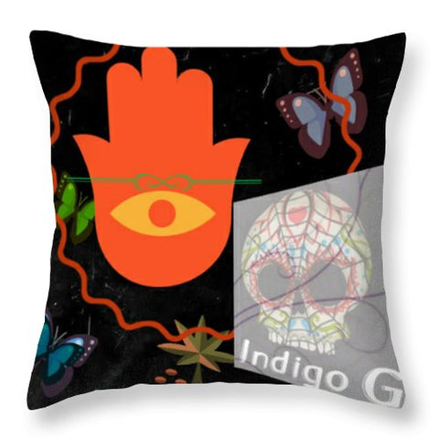 Festival Art Blotter Throw Pillow - Indigo G - Indigo G