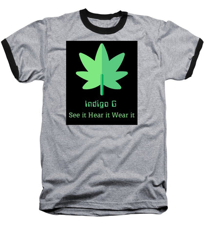 Green Leaf - Baseball T-Shirt - Indigo G