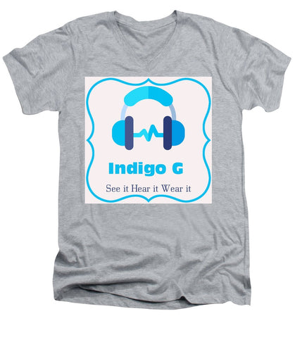 Headphones - Men's V-Neck T-Shirt - Indigo G