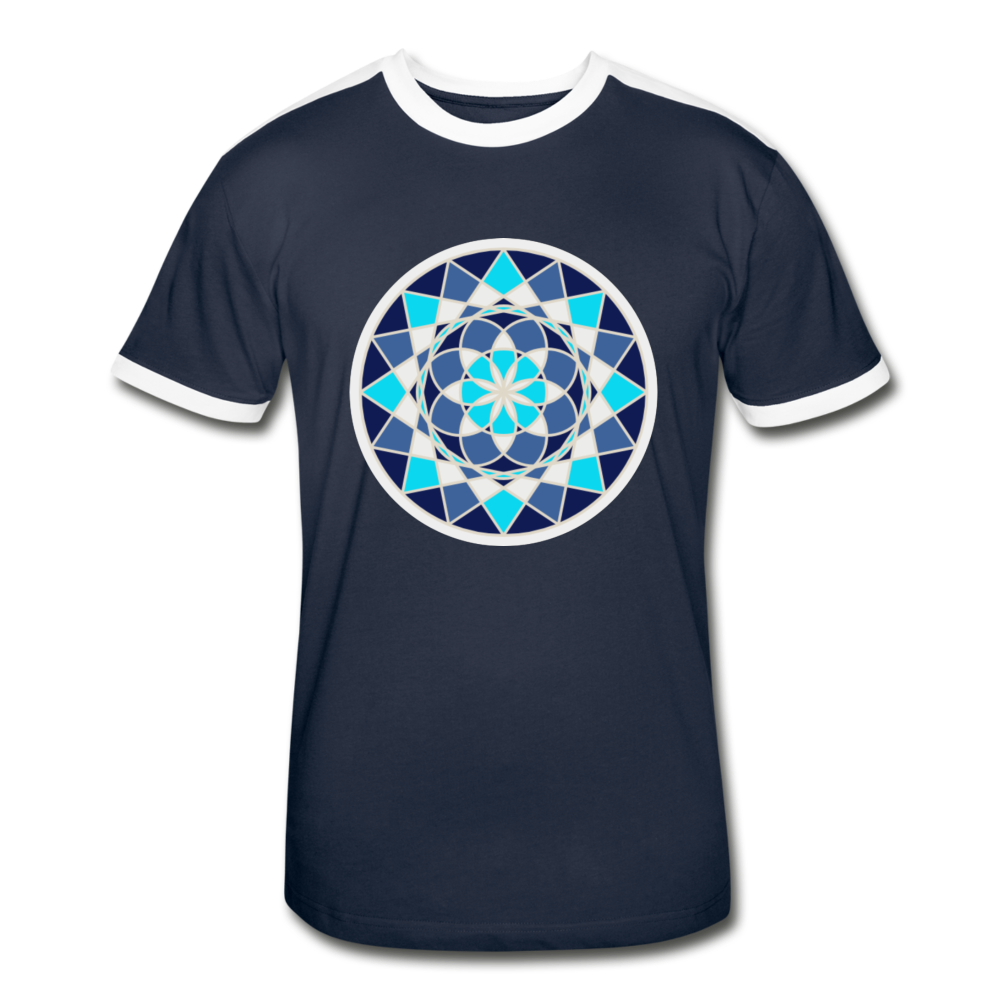 Blue Flower of - Life Men's Retro T-Shirt - navy/white