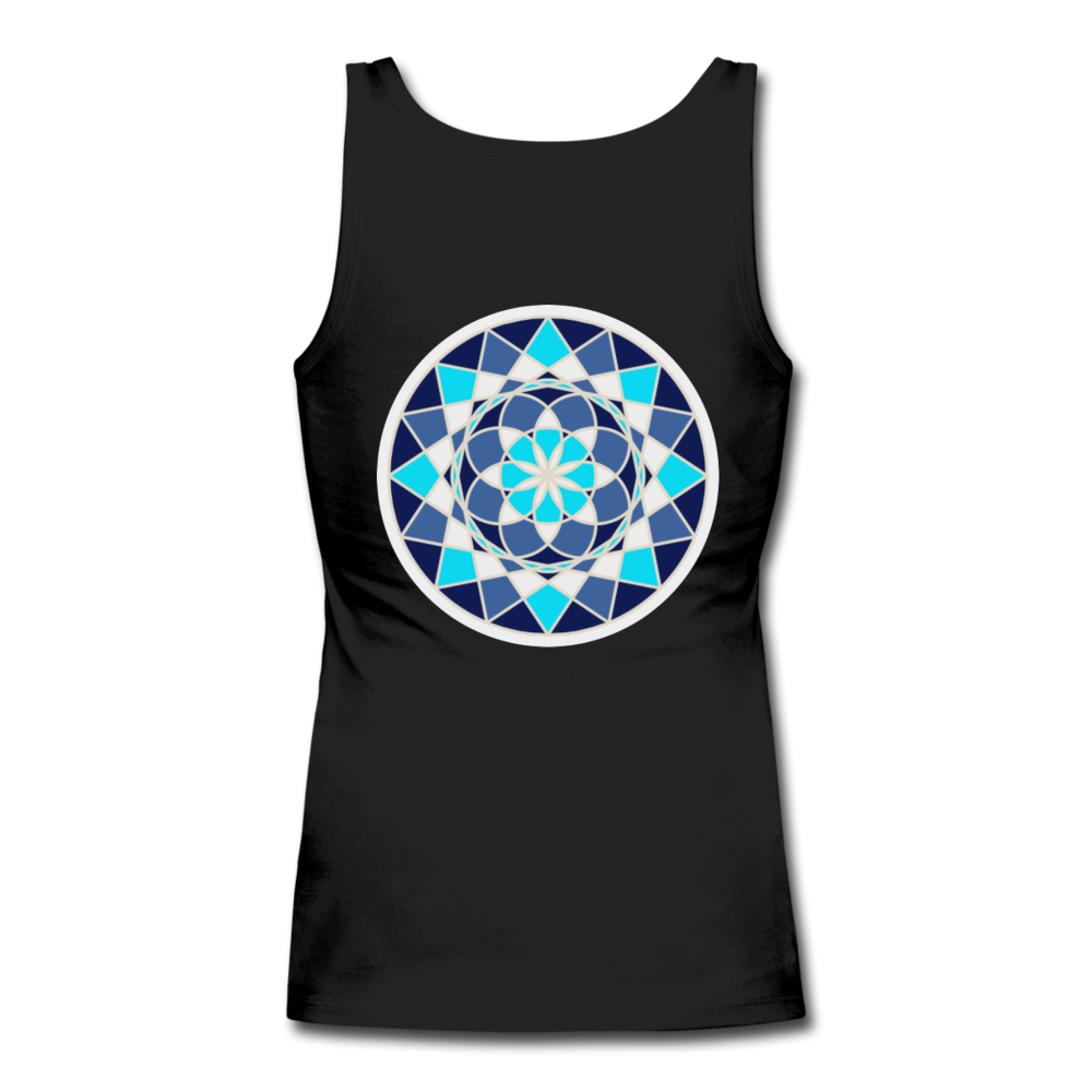 Blue Flower - Women's Longer Length Fitted Tank - black