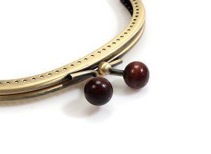 "byhands Red Mini Wood Beads Metal Purse Frame Kiss Clasp Lock, 12 cm/4.7"" (BF-W-12)"