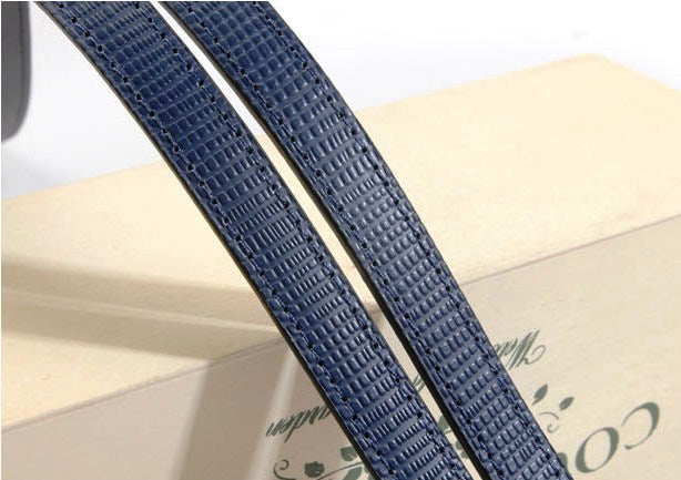 "24"" byhands Blue Genuine Leather Purse Handles, Bag Strap, Embossed Style (20-4001)"