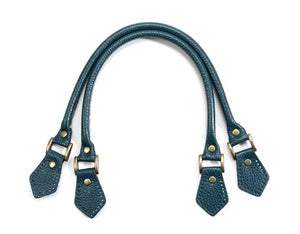 "18.8"" byhands Embossed 100% Genuine Leather Blue Green Purse Handles, Tote Bag Handles (22-4701-E)"