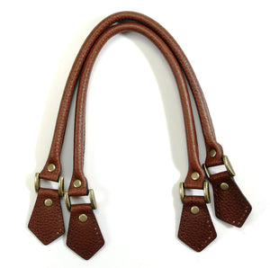 "18.2"" byhands Embossed 100% Genuine Leather Brown Purse Handles/Tote Bag Handles (22-4701-E)"