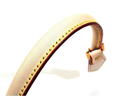 "18.8"" byhands 100% Genuine Leather Ivory Purse Handles/Tote Bag Handles, Gold Style Ring (22-4701)"