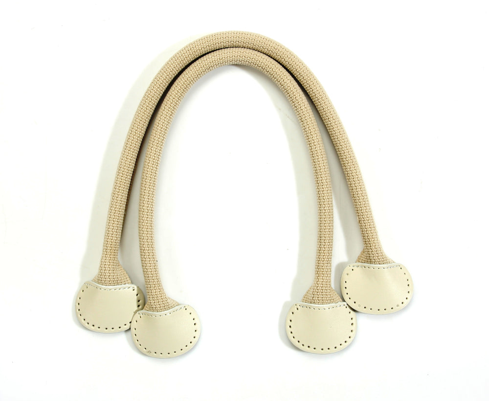 "18.1"" byhands Webbing Purse Handles, Bag Strap with Genuine Leather Tab, Beige (24-4003)"