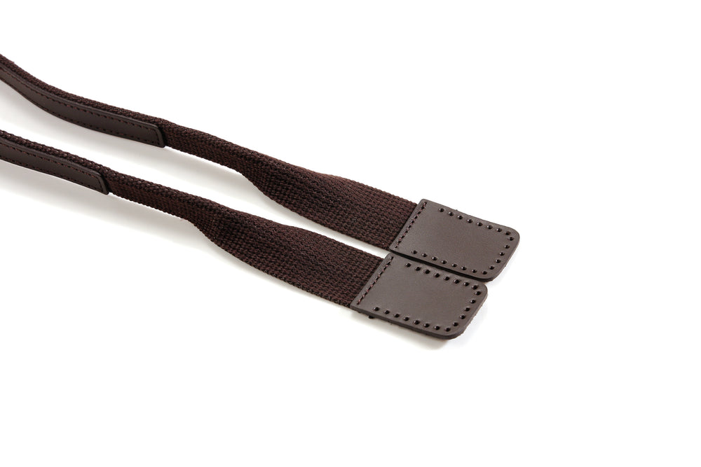 "17.7"" byhands Webbing Purse Handles, Bag Strap with Genuine Leather Tab (24-4503)"