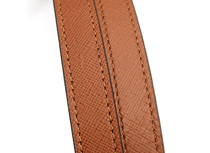 "24"" byhands Boston Series Saffiano Pattern Genuine Leather Purse Handles, Shoulder Bag Strap, Hazelnut (30-6102)"