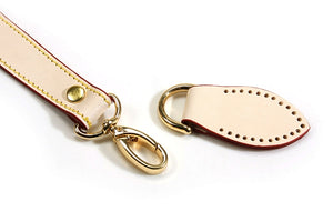 "24"" byhands Genuine Leather Ivory Purse Handle, Shoulder Bag Strap, Gold Style Ring (32-6103)"