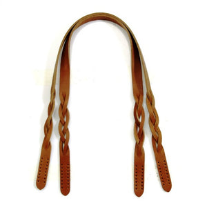 "24.9"" byhands Genuine Leather Braid Style Shoulder Bag Strap/Purse Handles, Tan (40-6301)"